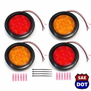 4 Round 4 Led Light Stop Turn Light 2 Red 2 Amber Flush Mount Trailer Dlux Kit
