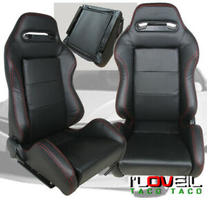 Universal Reclinable Black Red Stitching Bucket Racing Seats With Sliders X2
