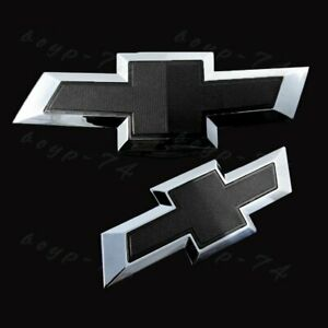 Front Grille rear Bowtie Emblem Set Black For 2014 2018 Chevy Chevrolet Impala
