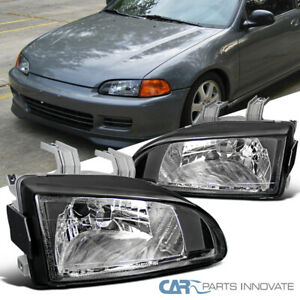 For 92 95 Honda Civic Eg Ej Black Driving Headlights Head Lamps Left Right