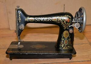 Early Singer Sewing Machine Red Eye Antique Collectible Seamstress Tool G2232793