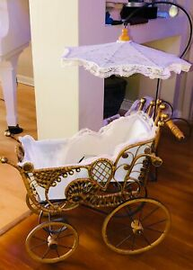 Vintage Victorian Wicker Baby Doll Carriage W Parasol Pram