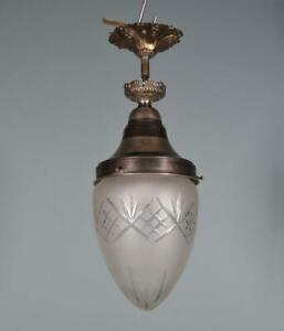 Vintage French Cut Glass Hanging Lamp Chandelier
