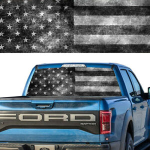 Rear Window Tint Graphic Decal Old Bw American Flag Striped Banner Pick Up Truck