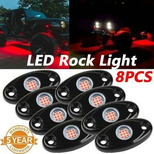 8x Neon Led Rock Light Kit Underglow Red Style For Offroad Car Truck Boat
