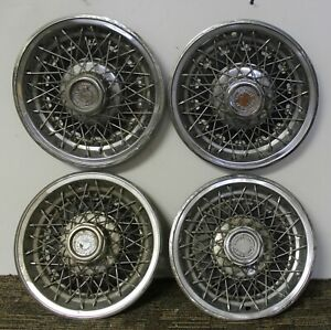 Oem 14 Wire Type Hub Caps Wheel Covers 465078 1977 79 Chevrolet Nova w55
