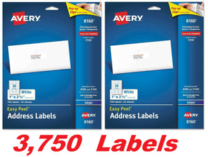 Avery 8160 Easy Peel Mailing Address Labels White 1 X 2 5 8 Inkjet 3750 Labels