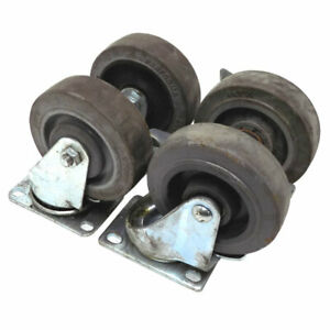 lot Of 4 Casters 4 X 1 25 Heavy Duty Industrial All Steel Swivel And Locking