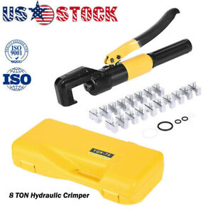 8 Ton Hydraulic Wire Terminal Crimper Battery Cable Lug Crimping Tool W 9 Dies