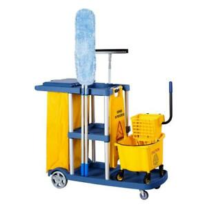 Housekeeping Janitor Commercial Cleaning Cart 3 Shelf Large Aluminium Structure