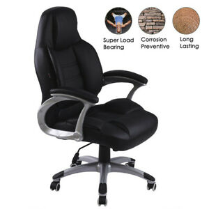 Black Leather Ergonomic Highback Executive Office Chair new