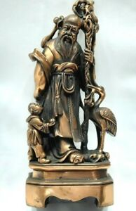 Copper Statue Of Chinese King With A Man And Pelican On Square Copper Stand