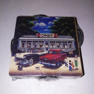 Set of 4 Coca Cola Coasters with Holder Pamela C Renfroe Vintage Diner