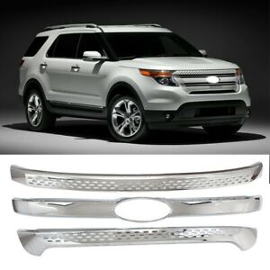 For 2011 2015 Ford Explorer Snap On Chrome Grille Overlay Front Grill Covers
