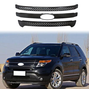 For 2011 2012 2013 2014 2015 Ford Explorer Gloss Black Front Grille Cover Trim