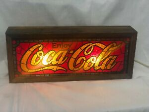 Vintage Coca Cola Lighted Faux Stained Glass Style Sign