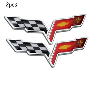 C6 Corvette Badge 2pcs Chevy Gm Front Rear Crossed Flags Emblem Decal