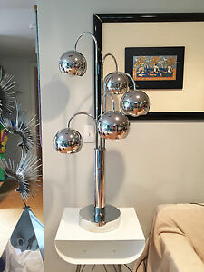 Vintage Mid Century Modern 1960 S Large Chrome Ball 3 Way Table Lamp