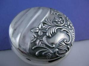 Sterling Frank Whiting Pill Snuff Box Ornate Floral Leaf Scroll Patterns