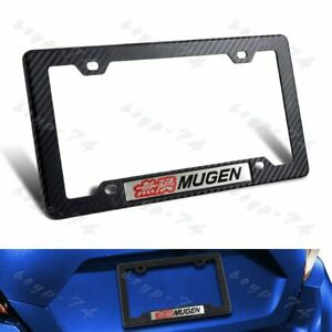 Abs License Plate Frame Carbon Style For Honda Civic Si 1pc Mugen W Car Emblem