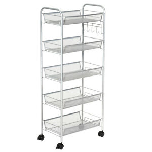 5 Tier Mesh Rolling File Utility Cart Storage Basket Home Office Kitchen Grey