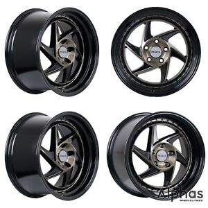 Regen5 R34 18x9 5 5x114 38et Smoked Carbon Black Lip set Of 4 Wheels
