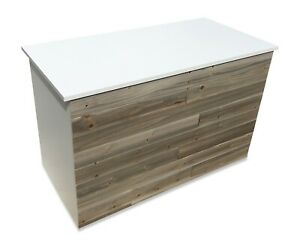 Reception Desk Sales Counter With Reclaimed Wood light