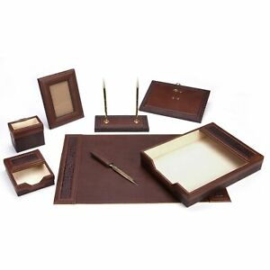 Brown Eco friendly 8 piece Leather Desk Set Brown