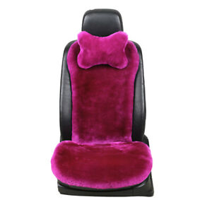 Sheepskin Wool Fur Car Seat Covers For Universal Car With Neck Pillow 1 Seat