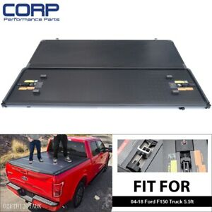 For 2004 2018 Ford F 150 Lock Hard Solid Black Tri Fold Tonneau Cover 5 5ft Bed