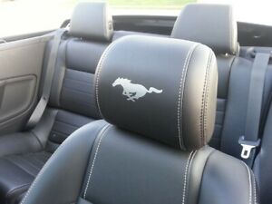 2015 2020 Ford Mustang Headrest Solid Pony Vinyl Decals Only Leather Seats