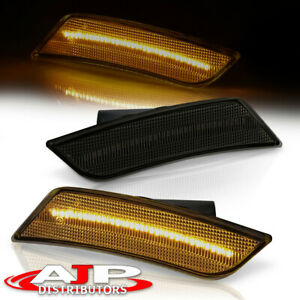 Smoke Amber Led Front Bumper Side Marker Light Set For 2013 2014 Cadillac Ats