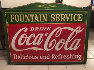 Large Vintage 1933 Coca Cola Fountain Service Porcelain Advertising Sign