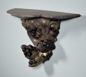 French Antique Decorative Wall Sconce Gilt Painted Wood Corbel Shelf W Grapes