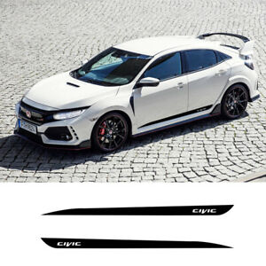 2 Pcs Car Sport Side Stripes Decals Stickers Auto Vinyl Graphics For Honda Civic