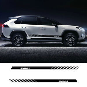 2 Pcs Car Side Stripes Decals Stickers Auto Vinyl Graphics For Toyota Rav 4