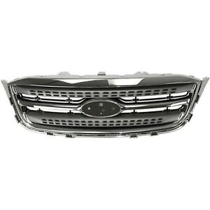 Grille Chrome Shell And Gray Insert For 2010 2012 For Ford Taurus Limited Se Sel