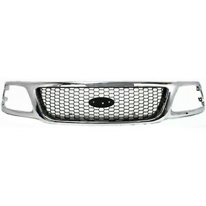 Grille For 99 2003 Ford F 150 99 F 250 Chrome Shell W Black Insert Plastic