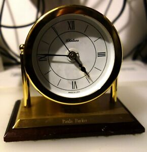 Rare Us Chelsea Solid Brass And Hardwood Base Clock Running