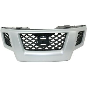 Grille For 2009 2013 Nissan Xterra Silver Shell W Gray Insert Plastic