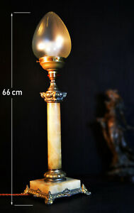 Vintage Edwardian 1910 Marble Brass Gilt Metal Large Lamp Cut Glass Acorn Shade