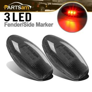 For Chevy Gmc 2001 2012 Led Side Dually Bed Fender Marker Lights Red Plug