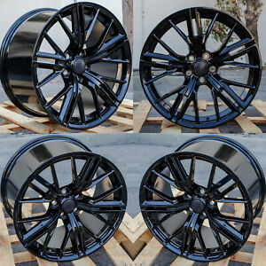 20x10 20x11 Oe Replica Zl1 Camaro Staggered Gloss Black Wheels 5x120 Set 4