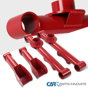 For 79 04 Mustang Red Carbon Steel Rear Upper lower Tubular Control Arms Spec d