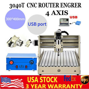 Cnc 3040 4 Axis Usb Router Engraver 400w Engraving Drilling Mill Machine Ac110v