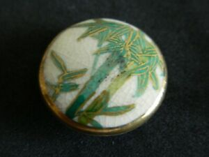 Antique Vtg Satsuma Porcelain Japanese Button Lots Of Gold Trees 3 4