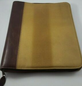 Day Timer Binder Distressed Leather Planner Organizer 7 Rings 13x11 Extras New