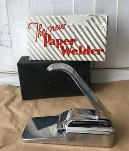 Vintage Chrome Paper Crimper Welder Crafters Paperweight Staple free Stapler