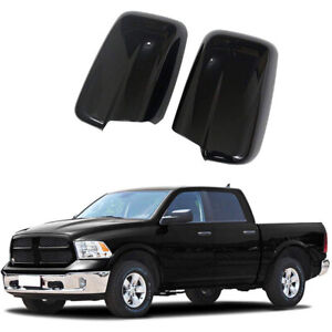 Black For 2009 2018 Dodge Ram 1500 Full Mirror Covers No Towing W o Turn Signal