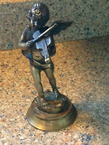 Antique Victorian Bronze Brass Winged Angel Cherub Playing Violin Statue 8 Tall
